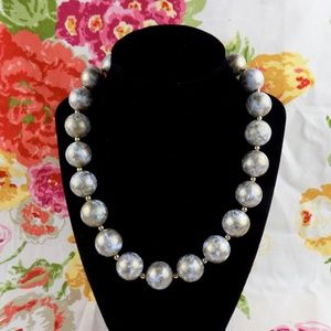 VTG NAPIER BIG chunky white gold BEAD NECKLACE